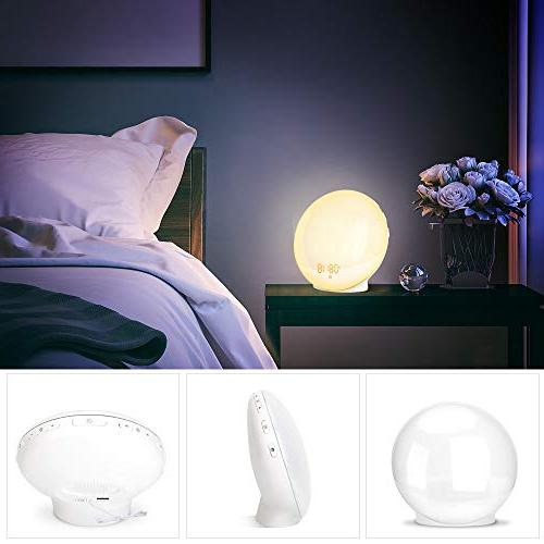 Wake- Alarm Clock Sunrise & Aid Dual Alarm Clock FM 7 Snooze for Adults Bedrooms