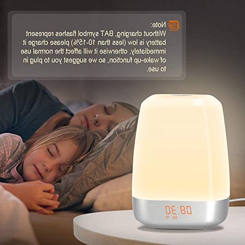 Wake-Up Light Alarm Clock-Sunrise with 5 Natural Sounds for Sleepers-Touch Control Multicolor Table Night Light