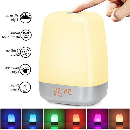 Wake-Up Clock-Sunrise Simulation for Control Multicolor Dimmable, USB Rechargeable Table for