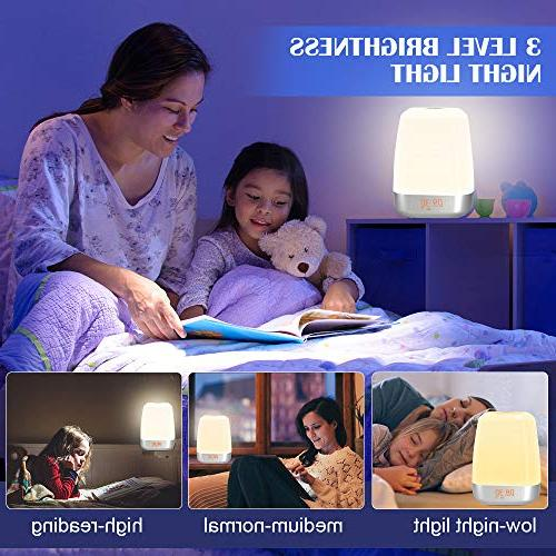 Wake-Up Light Alarm Clock-Sunrise Simulation with Sounds for Heavy Multicolor USB Table Lamps Night Light for Bedroom