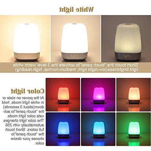 Wake-Up Light Simulation LED Clock with 5 Natural for Sleepers-Touch Multicolor Dimmable, for