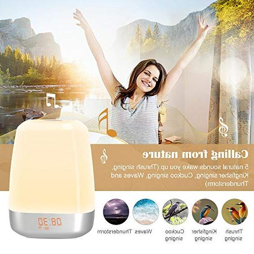 Wake-Up Light Simulation with 5 Sounds for Multicolor Rechargeable Table Night Light