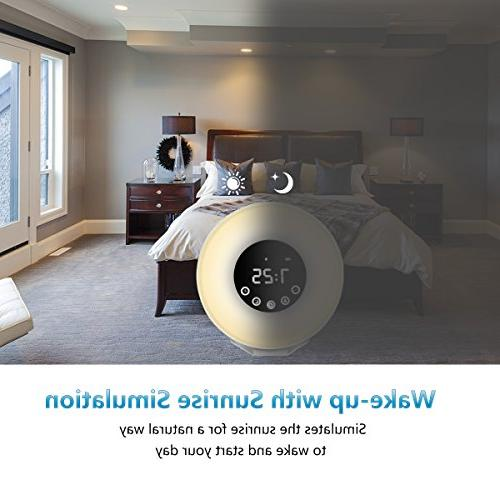 Wake Up LED Digital with 7 Color for Multiple Nature and Sunset FM Radio with Snooz