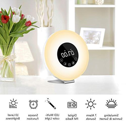 Wake Up Light, LED Digital Clock with 7 for and Multiple Nature and Simulation, Radio and with