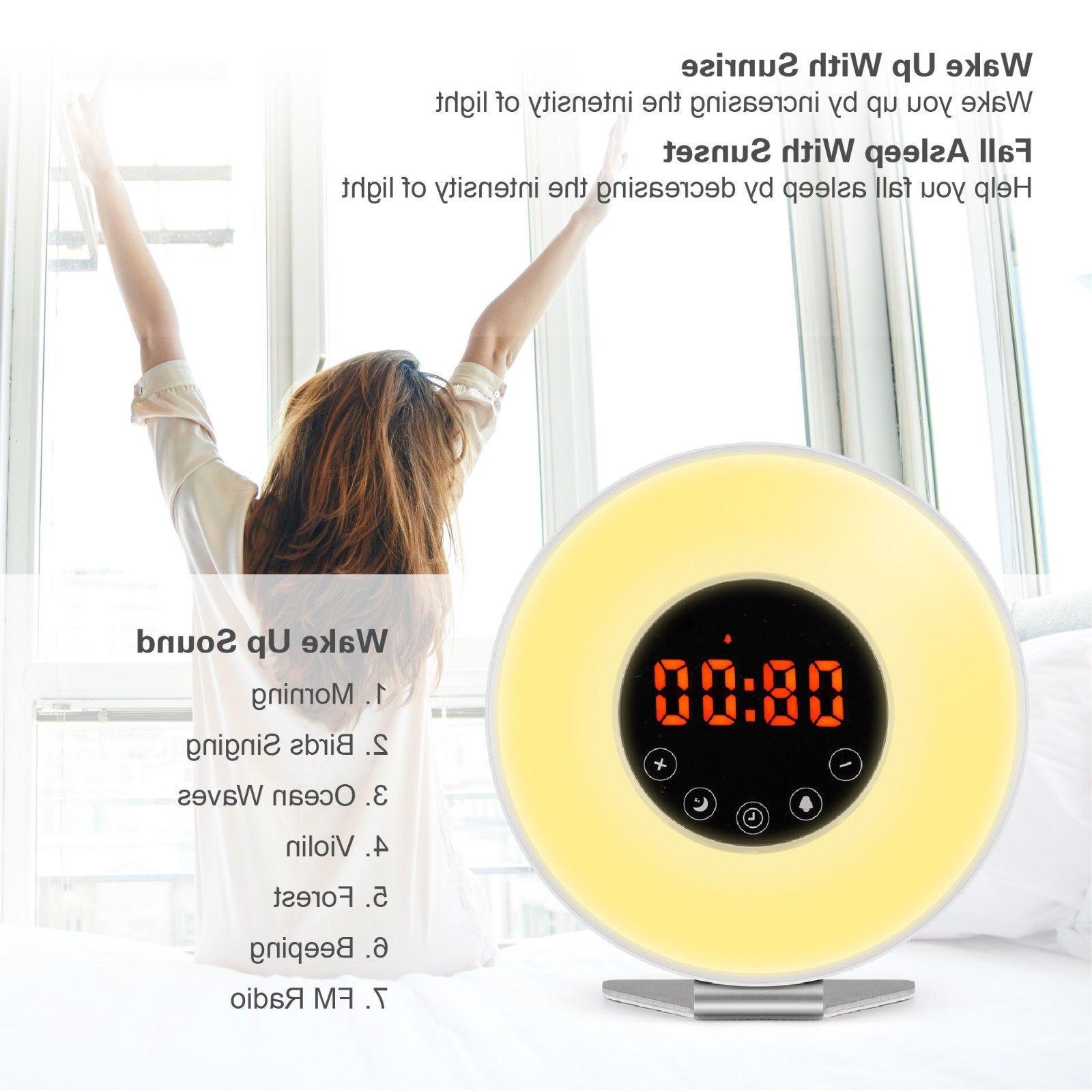 Wake Light Alarm Clock Digital LED Color Natural Bed