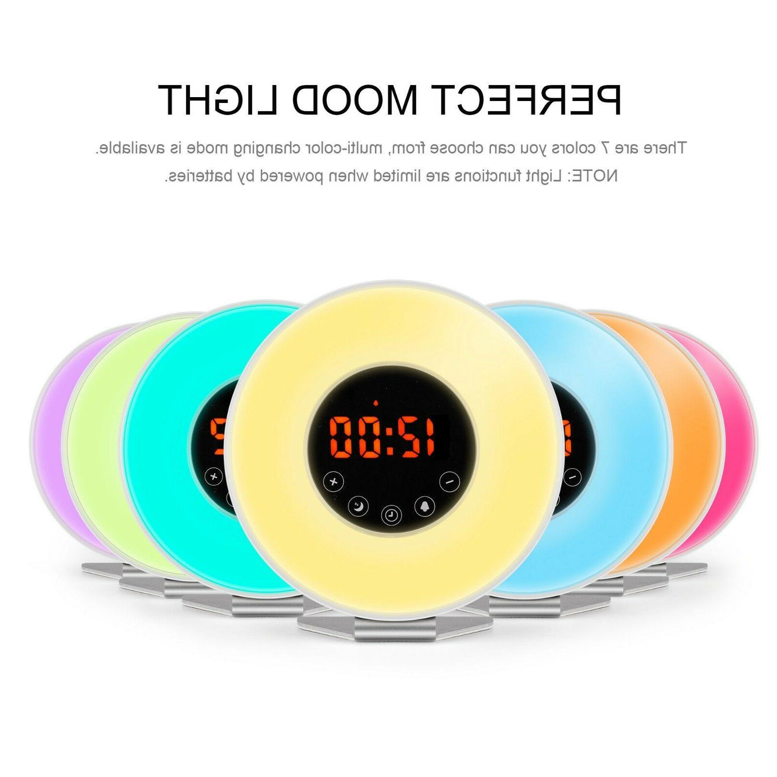 Wake Up Light Alarm Clock LED Color Switch Radio Natural Bed