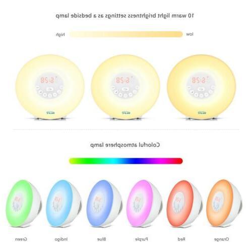 Wake Up Light Clock Digital LED 6 Color Switch Natural