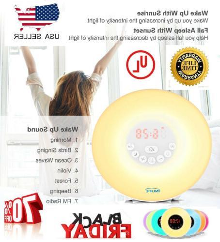 wake up light alarm clock digital led