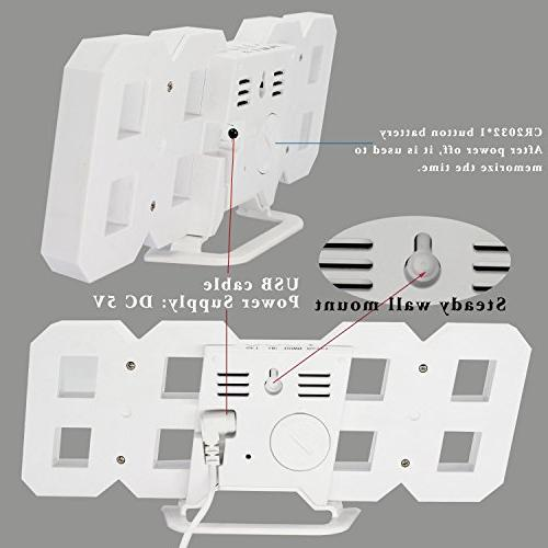 LED Digital Alarm Office Mount, Hour Display, Auto Dimmable Bedroom