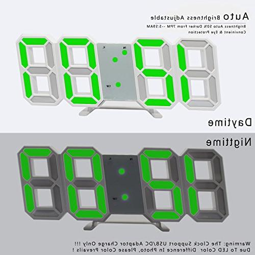 LED Clock,3D Digital Office Hour Brightness Auto Dimmable Bedroom Living