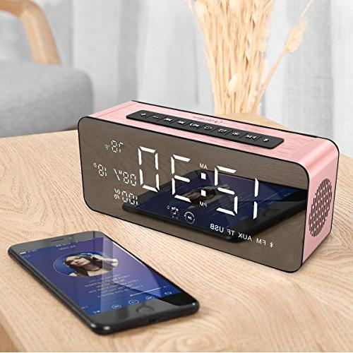 Orionstar Clock Radio Speaker 9.4″Digital Display Dimming &HD iPhone/Android/PC4/Aux/MicroSD/TF/USB, for Model A10 Pink