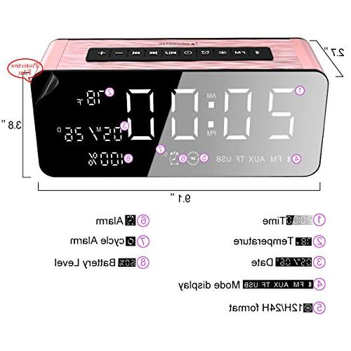 Orionstar Wireless Clock Speaker 9.4″Digital Screen &HD Sound, Compatible iPhone/Android/PC4/Aux/MicroSD/TF/USB, Model A10 Pink