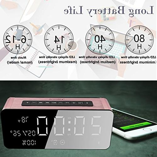 Orionstar Bluetooth Clock Radio 9.4″Digital Screen &HD Sound, with iPhone/Android/PC4/Aux/MicroSD/TF/USB, Model A10 Pink