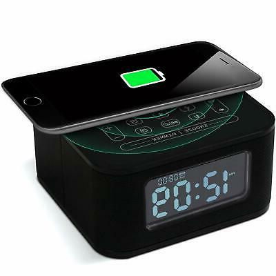 wireless charging alarm clock radio bluetooth speaker