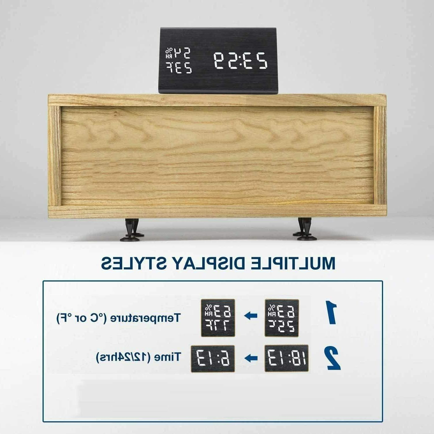 MEKO Wood Digital Clocks for LED Display, Snooze