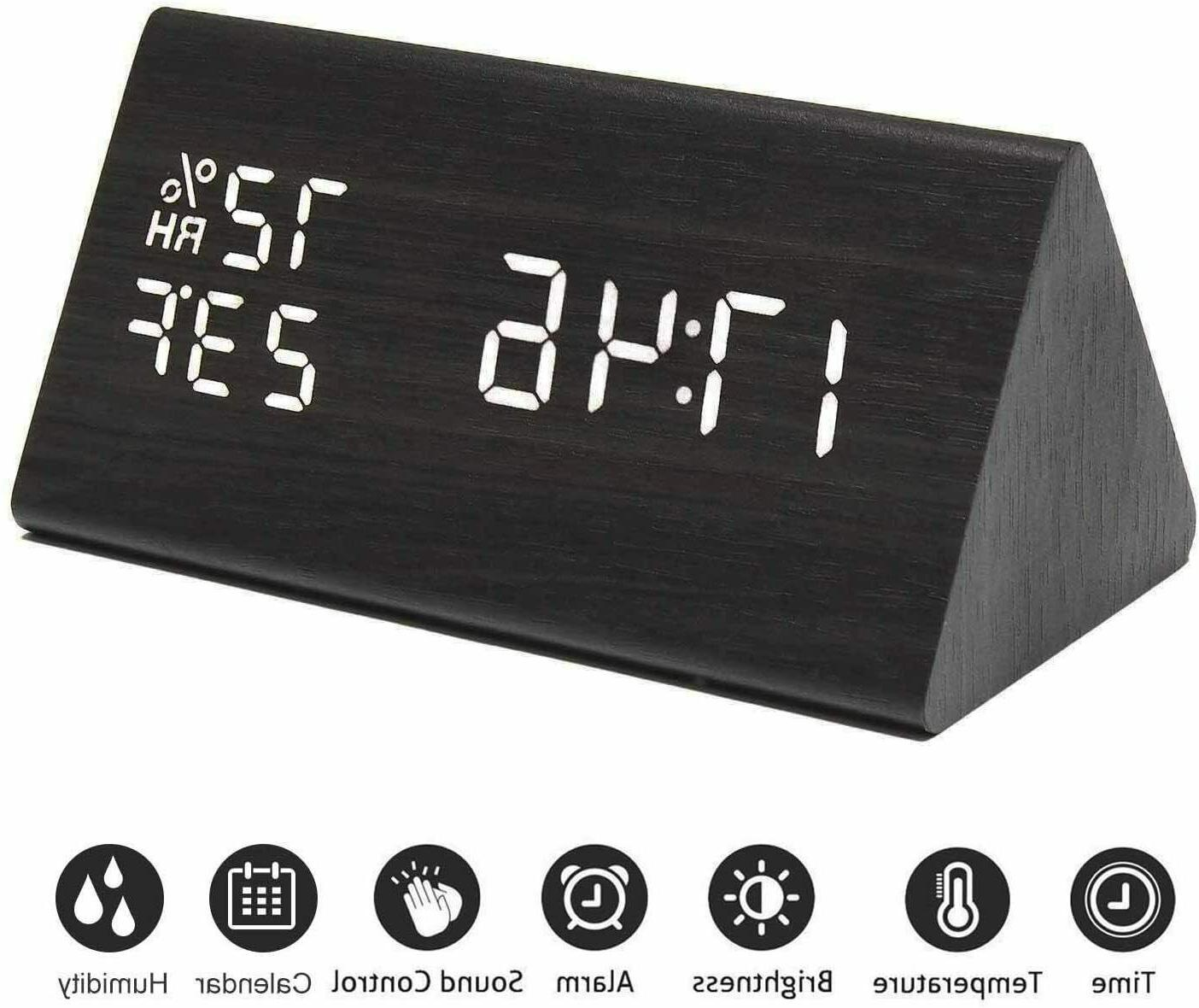 MEKO Wood Digital Clocks Bedrooms LED Display, 3 Levels, Snooze