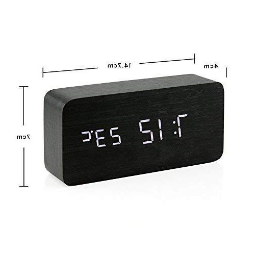 Oct17 Wooden Digital Clock, Wood LED Clock USB Control, Timer, Black