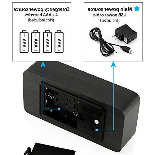 Oct17 Digital Clock, Multi-function LED USB Power Supply, Control, Timer, Thermometer - Black
