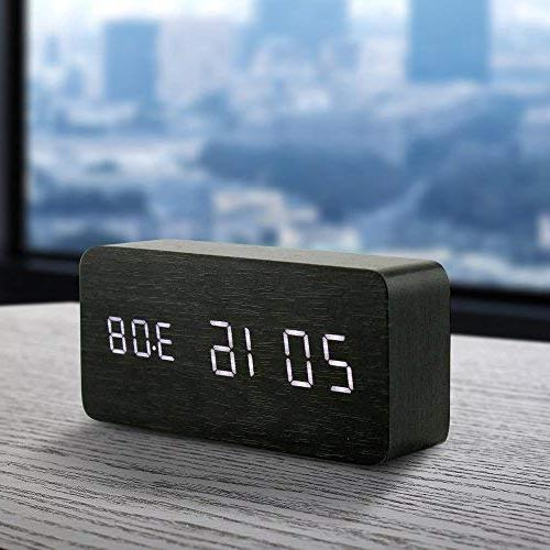 Oct17 Digital Clock, Wood Fashion USB Voice Control, Black
