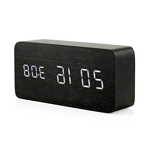 Oct17 Clock, LED Alarm with USB Power Control, Black