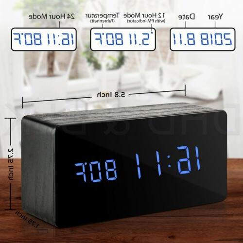 wooden alarm clock mirror screen digital adjustable