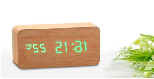 Wooden LED Digital Alarm Clock Voice Thermometer USB/AAA