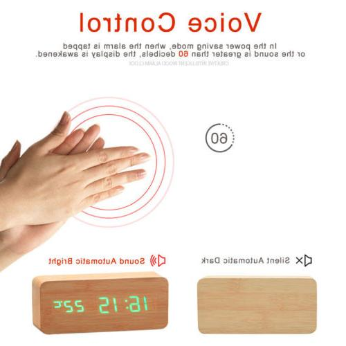Wooden LED Clock Control Thermometer