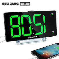 "Large Alarm Clock 9"" LED Digital Display Dual Alarm with USB"