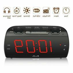 DreamSky Large Alarm Clock Radio with FM Radio and USB Port