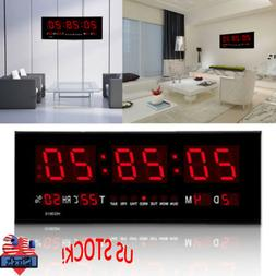 Large Digital Jumbo LED Wall Desk Alarm Clock Display Calend
