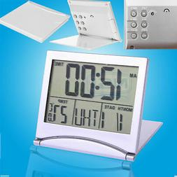 Large Digital LCD Folding Travel Alarm Clock with Thermomete