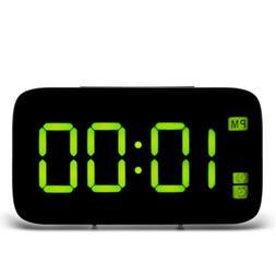 Large Digital LED Display Alarm Clock Snooze Voice Control U