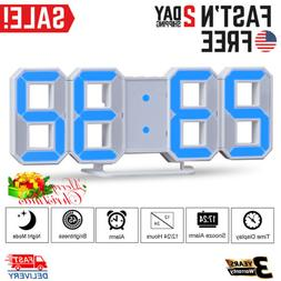 Large LED Digital Alarm Clock Table Wall Snooze Timer 3D Dis