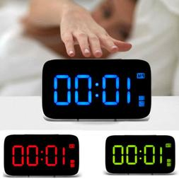 Large LED Digital Alarm Snooze Clock Voice Control Time Disp