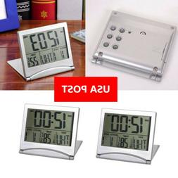 LCD Digital Folding Desk Travel Alarm Clock With Thermometer