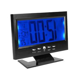 LCD Digital Sound Sensor Table Electric Clock Calendar Tempe