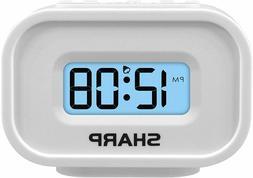 Sharp LCD Display Digital Alarm Clock Ascending Alarm Batter