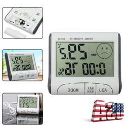 LCD Indoor Temperature Humidity Meter Alarm clock Digital Th