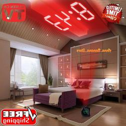 LCD Projection LED Display Time Digital Alarm Clock Talking