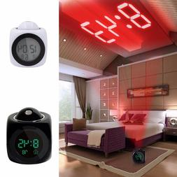LCD Projection LED Display Time Digital Snooze Alarm Clock T