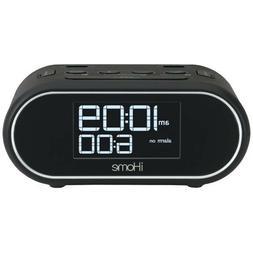 iHome LCD Triple Display Alarm Clock With Dual USB Charging
