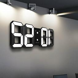Digoo LED 3D Wall Alarm Clock USB Digital White Snooze 12/24