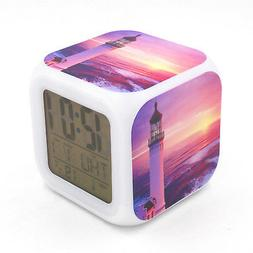 Led Alarm Clock Lighthouse Sunset Creative Digital Table Clo