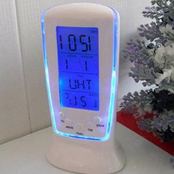 LED Alarm Clock with Blue Backlight Electronic Calendar & Th