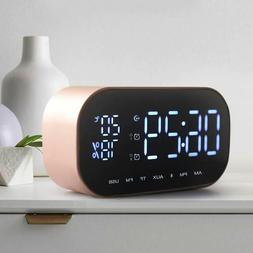 LED Alarm Clock with Mirror FM Aux USB TF Wireless Bluetooth