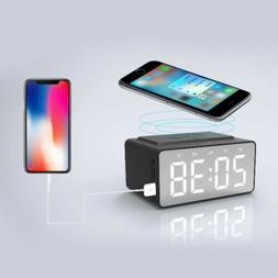 LED Alarm Clock with Radio Wireless Bluetooth Speaker Aux US