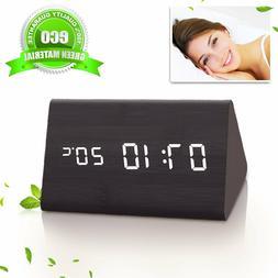 Led Desk & Shelf Wooden Alarm Clock Temperature Display