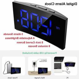 LED Digital Alarm Clock 5'' Curved Screen Snooze Timer Kids