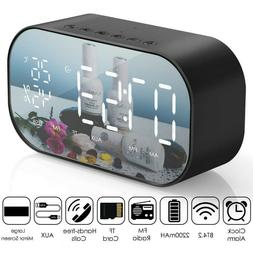 LED Digital Alarm Clock Bluetooth Speaker with FM Radio Aux