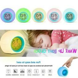 Kids LED Digital Alarm Clock 7 Color Changing Wake Up Light